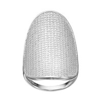 Cubic Zirconia Sterling Silver Oval Disc Ring (White)