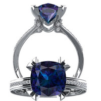 Alexandrite And Diamond Engagement Ring Fashion Ring 14K White Gold Wedding Ring Diamond Cushion Cut 3.29CT Alexandrite W26A14W