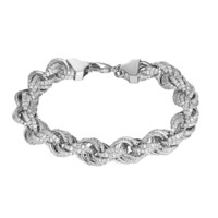 Iced Out Rope Link Bracelet 11mm Iced Out Simulated Diamonds Hip Hop Silver Tone