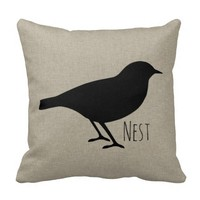 Nest Song Bird Silhouette Throw Pillow