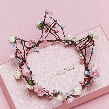 The bride Beautiful Bride Bridesmaid flower wreath crown headdress ornaments portrait photography (Color: Multicolor) = 1930055748