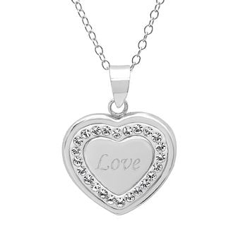 Sterling Silver Heart Pendant -Necklace with Swarovki Crystals