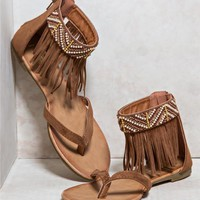 Beaded Fringe Gladiator Sandals