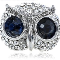 Silver Tone Synthetic Sapphire Rhinestone Blue Eyed Hooting Face of Owl Bird Fashion Ring