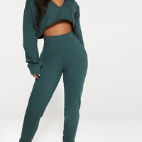 Shape Emerald Green Elastic Bottom Joggers