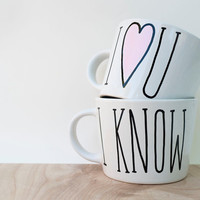 I Love You I Know Mug // I Love U I Know Mug // His and Hers Coffee Mug // Gift for Married Couple // Anniversary Gift Idea