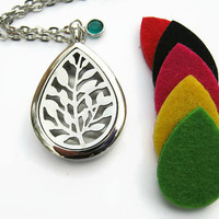 Leaf Diffuser Necklace, Stainless Steel Essential Oil Diffuser Pendant, Personalized Aromatherapy Necklace,  Birthstone Nature Necklace