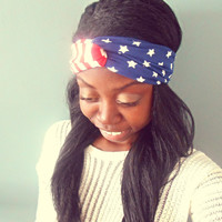 American Flag Turban Headband Red White and Blue Hippie Headband Fourth of July Headband Stars and Stripes Hair Accessories
