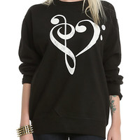 Music Clef Heart Crewneck Pullover