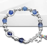 Blue Beaded With Circles Autism and Aspergers Awareness Bracelet