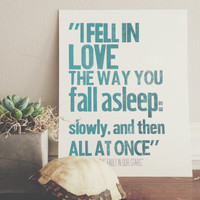 SALE | 50% OFF | Limited Edition Letterpress Poster | I Fell In Love The Way You Fall Asleep | John Green Quote, The Fault In Our Stars