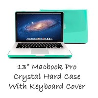 """GMYLE (R) Turquoise Robin Egg Blue Clear Crystal See Thru Hard Shell Clip Snap On Case Skin Cover for Apple 13.3"""" inches Macbook Pro Aluminum Unibody - With TPU Transparent Protective Keyboard Cover - 2 in 1 -"""