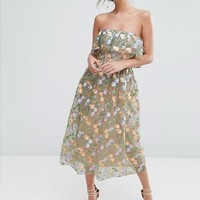 True Violet Floral Embroidered Strapless Midi Dress at asos.com