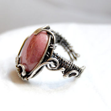 Rhodonite ring, sterling silver, wire wrapped