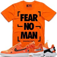 FEAR NO MAN Orange Sneaker Tees Shirt to Match - Nike Air Just Do It