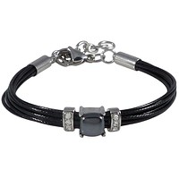Black Cord Bracelet with Hematite Clear Crystal and Stainless Steel Accents for Women and Men Adjustable Clasp