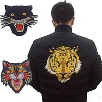 New! Large Embroidered Patch Iron on Yellow Tiger,vivid Tiger Head, Leopard,cobr snake good for motor jacket Fashion 2017