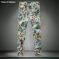 Pop fashion nightclubs printing quality Ankle-Lenghth pants trousers American style casual wash and wear harem pants men M-5XL