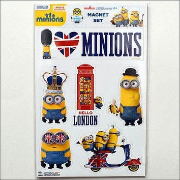 Despicable Me Minions British UK Invasion Fridge Magnet Set Collection of 6 NEW