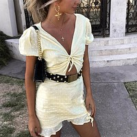 Sexy Hollow Out Women Wrap Dress Yellow Puff Sleeve Polka Dot Cotton Sundress Elegant Ladies Dresses Streetwear
