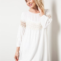 Lace Detailed Baby Doll Dress - Off White