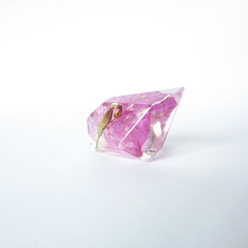 BOUGAINVILLEA FLOWER diamond RING with sterling silver 925. Botanical real flower resin ring ooak