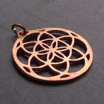 Seed of Life Flower of Life Large Copper Pendant Sacred Geometry Focal 38mm x 35mm Metal