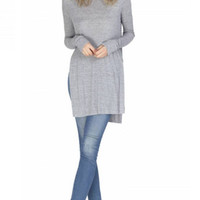 Gentle Fawn Instinct Long Sleeve High Side Slit Top   H Cement