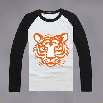 Women Personality Tiger Head Print Multicolor Round Neck Long Sleeve Bodycon T-shirt Crop Tops