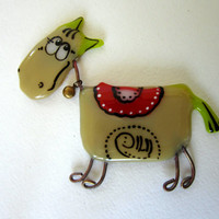 "Magnet fusedglass to decorate the refrigerator or magnetic board at home or in the office. Series ""Pets"". Pregnant horse"
