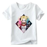 Children Suicide Squad Harley Quinn Print T shirt Boys and Girls Summer White Tops Kids Casual Clothes,HKP5079