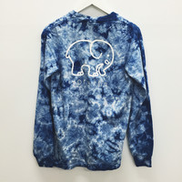 Pocketed Navy Acid Wash Classic Print