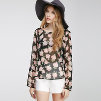 Black Rose Print Long Sleeve Top