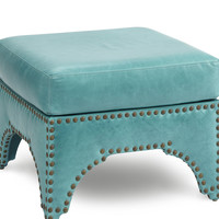 Candemir Leather Ottoman, Turquoise, Ottomans
