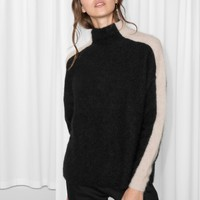 & Other Stories | Contrasting Racer Stripe Sweater | Black