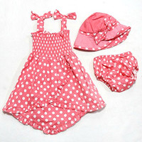 Easykan Baby Girls Summer Pant+Hat Outfit Clothes Skirt Dress 12-24 M Pink