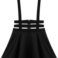 Black Suspender Mini Skater Skirt