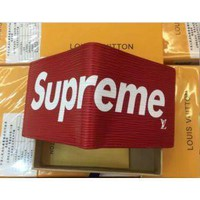 ku-you LOUIS VUITTON NEW SUPREME RED WALLET LEATHER WALLET