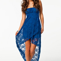 Sapphire Strapless Lace Evening Tail Dress