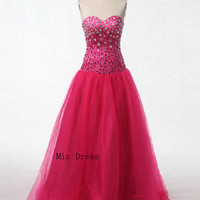 Sweetheart sleeveless floor-length tulle with crystal beads long evening dresses prom gowns