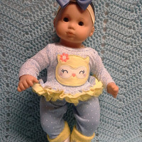 """AMERICAN GIRL Bitty Baby Clothes """"Lemon the Owl"""" (15 inch) doll outfit  dress, leggings, booties socks, headband flowers N2"""
