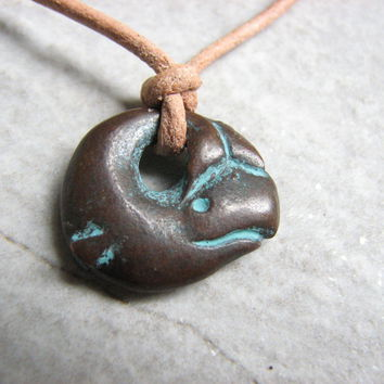 Copper and Leather Whale Necklace