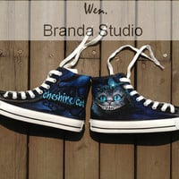 Alice In Wonderland-Cheshire Cat-Studio Hand Painted Shoes 55Usd,Paint On Custom Converse Shoes Only 95Usd,Buy One Get One IPhone Case Free