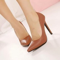 Ladies Women's Solid High Heels Pointed Toe Stilettos Classic Pump Court Shoes