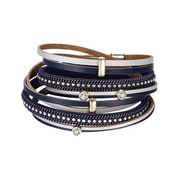 Crystal Multiple Layers Faux Leather  Bracelet