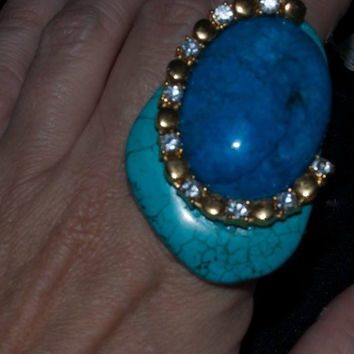 Denim Blue enhanced jasper and turquoise ring with rhinestone adornment