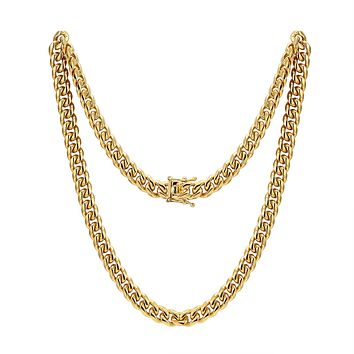 "Men's Stainless Steel 12mm Miami Cuban Link 14k Gold Finish Chain 30"" Plain Designer Necklace"