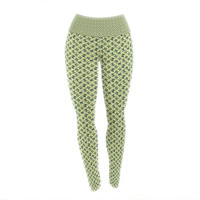 "Holly Helgeson ""Flutterby"" Yellow Lime Yoga Leggings"