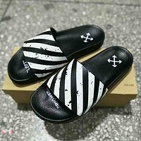 Off White Off Stamp Fashion new print women and men massage slippers shoes Black