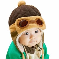 Baby Pilot Hat Toddlers Kids Cool Aviator Warm Cap for Baby Boy Girl Infant Ear Flap Soft Hat Beanies